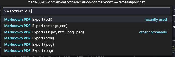 Markdown PDF options