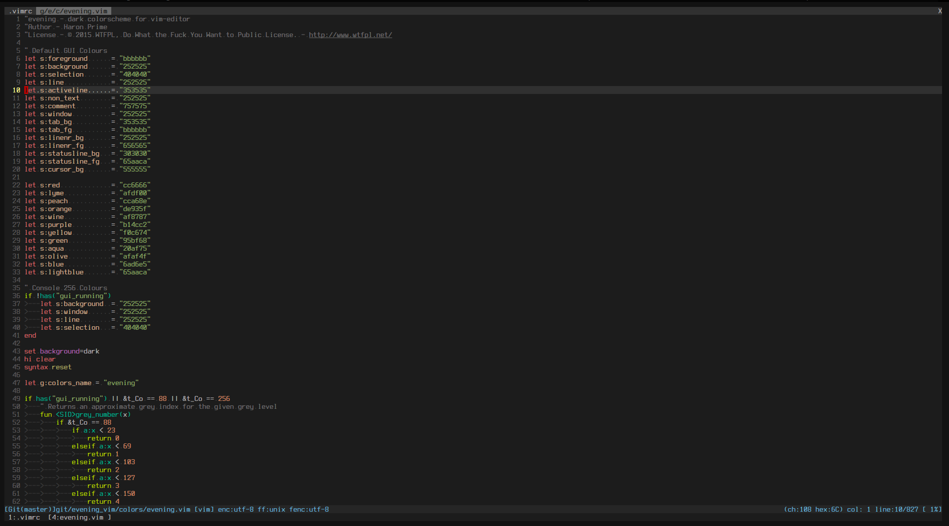 """Vim evening theme screenshot"""