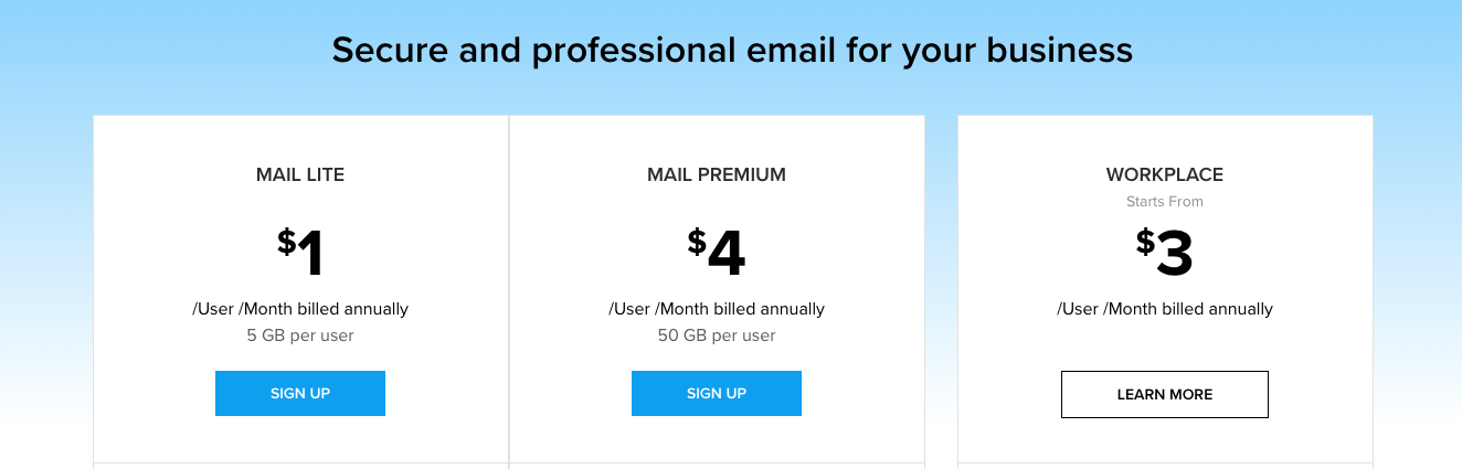 Zoho Mail subscription plans